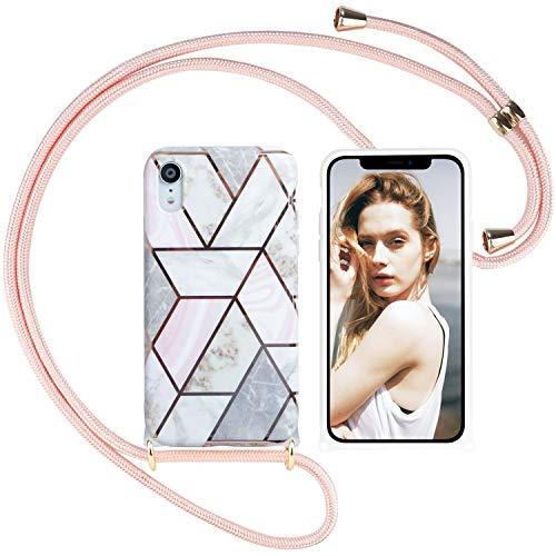 Nupcknn Schutzhülle Marmor mit Kordel für iPhone XR, weiches TPU-Silikon, mit verstellbarem Tragegurt, Halsband, Kette (Roségold)