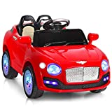 HONEY JOY Ride On Car, Kids Electric Car 2 Seat with Parental Remote Control, 6V Battery Powered Vehicle with Spring Suspension, Swing Function, LED Lights, Horn, Mp3, Music (Red)