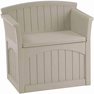 Suncast Resin Patio Seat with Storage - Decorative Outdoor Patio Seat for Deck, Patio, Garden, Backyard - Store Toys, Cushions, Tools - Taupe
