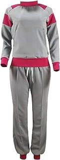 WSPLYSPJY Women's 2 Piece Outfits Zipper Letter Print Jacket+Pants Tracksuits Set Silver M