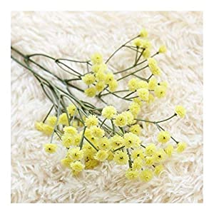 Silk Flower Arrangements 10 Pcs White Babies Breath Artificial Flowers,Plastic Gypsophila Bouquet,with 90 Flower Heads, for Wedding Home DIY Decor (Color : Yellow)