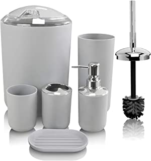 TEKITSFUN Grey Bathroom Accessories Set, 6 Pieces Plastic Gift Bath Accessory Sets Luxury Ensemble Includes Toothbrush Holder,Toothbrush Cup,Soap Dispenser,Soap Dish,Toilet Brush Holder,Trash Can