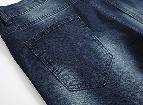 Men's Blue Skinny Jeans Stretch Washed Slim Fit Straight Basic Denim Pencil Pants 6