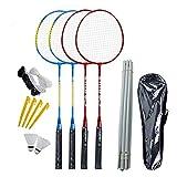 GHQBDMG Juego de 4 raquetas de bádminton con 2 volantes, red y 1 bolsa de transporte, raquetas de tenis para niños, para interiores, deportes al aire libre, adultos, juegos de patio, 2 pares