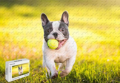 1000 Piece Jigsaw Puzzle - French Bulldog with Tennis Ball Large Format Unique Cut Interlocking Pieces 29.5 X 19.6 Inch