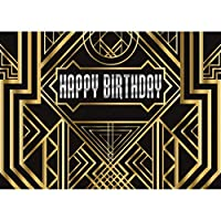 GooEoo 7 X 5フィートグレートギャツビー写真背景ハッピーバースデー大人子供パーティーの背景黒と金ゴールデンバナーフォトスタジオ小道具11053