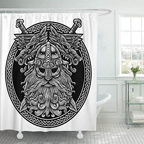 GETTOGET Circle Norse God Odin with Wolf and Swords Graphic in The Ring Celtic Viking Warrior Angry Barbarian Shower Curtain Bathroom Sets Hooks,Waterproof Polyester Curtain
