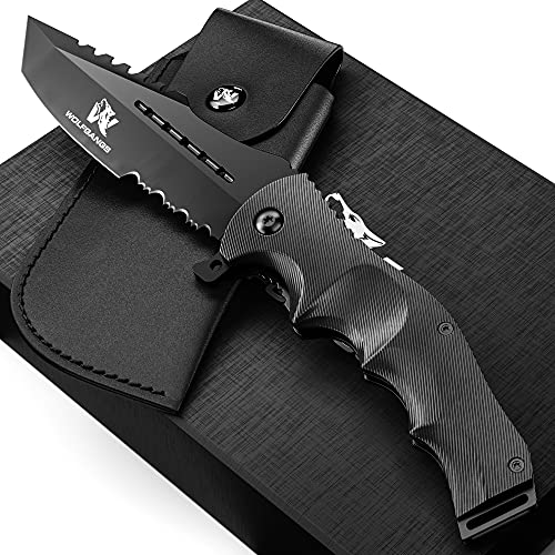Wolfgangs UNDIQUE Einhand-Messer/Survival-Messer mit Multifunktions-Klinge/Outdoor-Messer in ansprechendem Design (Schwarz)