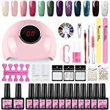Coscelia Esmaltes de Uñas 12pcs Kit de Esmaltes Semipermanentes para Uñas Soak off 8ml Lamparas 24W UV/LED para Uñas de Gel Base Coat Top Coat Accesorio de Mancura Pedicura Kit