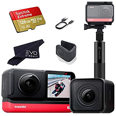 Insta360 ONE R Twin Edition - Super 5.7K Dual-Lens 360 Camera + 4K Wide Angle 60FPS with Invisible Selfie Stick and 128GB Memory Card Bundle (3 Items) by Insta360