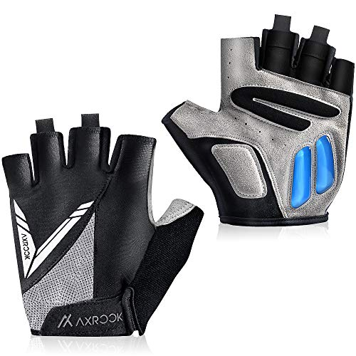 AXRCCK Half Finger Cycling Gloves Bike Gloves for Men/Women Bicycle Anti-Slip Shock-Absorbing 5MM Gel Pad Breathable MTB DH Mountain Bike Gloves XL