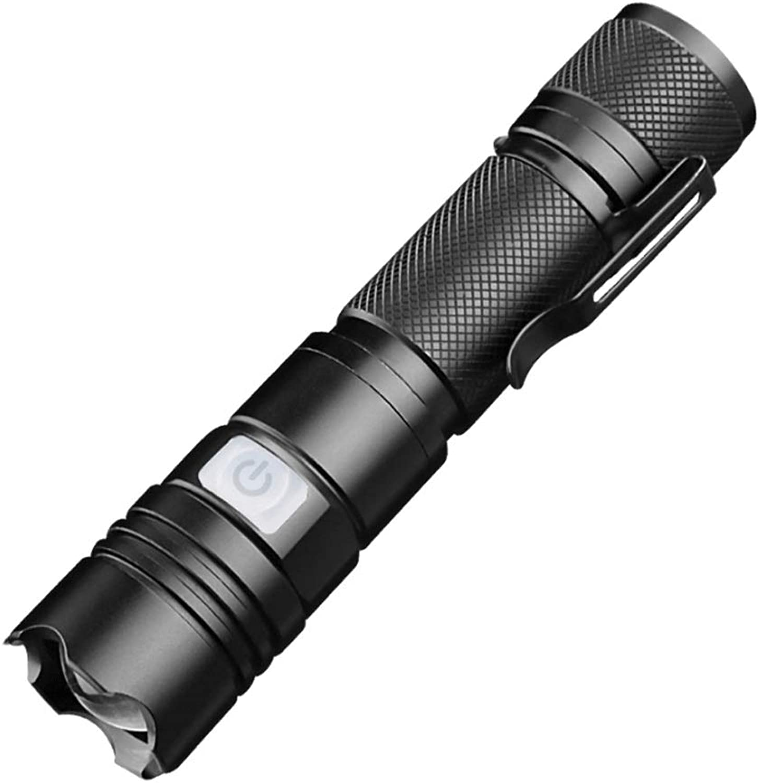FWSDT USB-Ladeanzeige Taschenlampe Batterieanzeige Taschenlampe 350 Lumen Einstellbarer Fokus LED-Taschenlampe 3 Modi Regengeschützte wasserdichte Taschenlampen für Wanderungen im Innen- und Auenbere