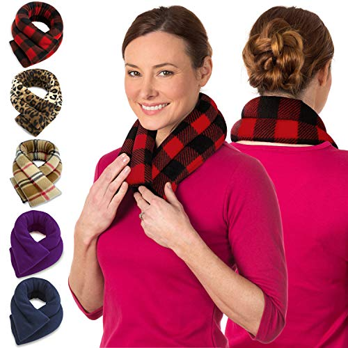 Microwave Heating Pad for Neck and Shoulders - Non Electric Heated Neck Pillow - Microwavable Neck Brace for Sleeping - Heat Packs for Pain Relief - Wheat Filled Bean Bag by Sunnybay (Buffalo Plaid Red)