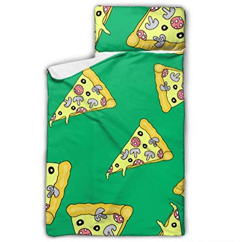 Doreen DaltonKids Schlafsack Pizza auf weißem Pizza, isolierte Matte mit Kissen für Kleinkinder, Jungen und Mädchen, Klassische Schlafsack, perfekte Größe für den Tag