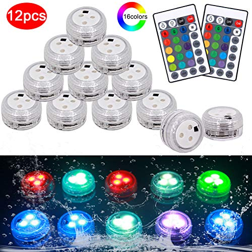Submersible Led Lights with Remote, 12 Pcs RGB Waterproof Led Underwater Tea Lights, Multi Color Led Vase Light for Pond, Fountain, Swimming Pool, Garden, Halloween, Vases