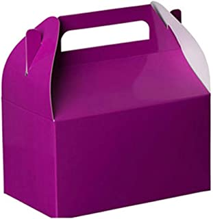 "Party Favors Paper Treat Boxes - Purple Colored Paper Containers & Boxes Treat Container Cookie Boxes Cute Designs Perfect for Parties and Celebrations 6.25"" x 3.75"" x 3.5"" (10 Pack)"