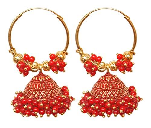 Pahal - Pendientes de aro de oro Jhumka étnico Bollywood con perlas rojas del sur de la India grandes
