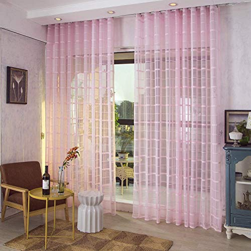 Voile gordijnen Jacquard Clear met oogjes Gordijnen eenvoudig en modern stijl zachte ademend Slaapkamer transparant gordijn voor grote ramen 1 stuk,Pink,200X230cm