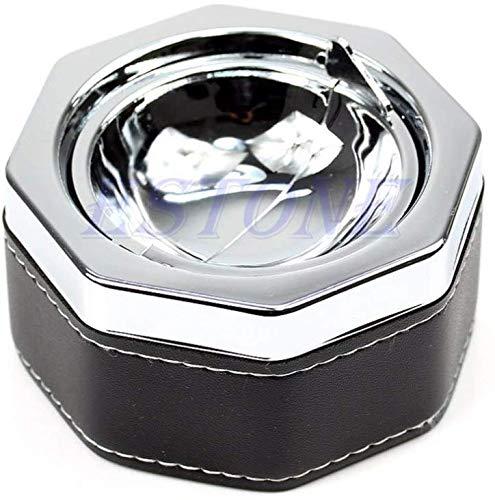 AMITD draagbare ronde metalen lasbeker met winddicht deksel en sigarettenvak voor binnen of buiten