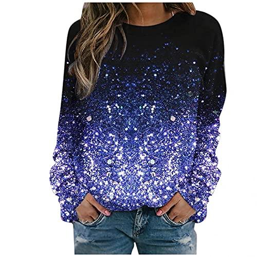 Dubras Autumn Winter Tie Dye Crewneck Sweatshirt for Women,Casual Long Sleeve Shirt Slim Pullover Top Lightweight Sweatshirt Blue