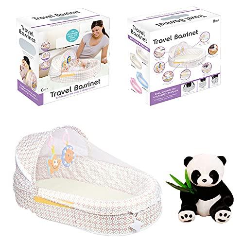 Cuna portátil Nido de bebé Plegable con mosquitera Esenciales recién Nacidos Paquete de Colores Viene con muñecas Panda y Juguetes Musicales,Blanco