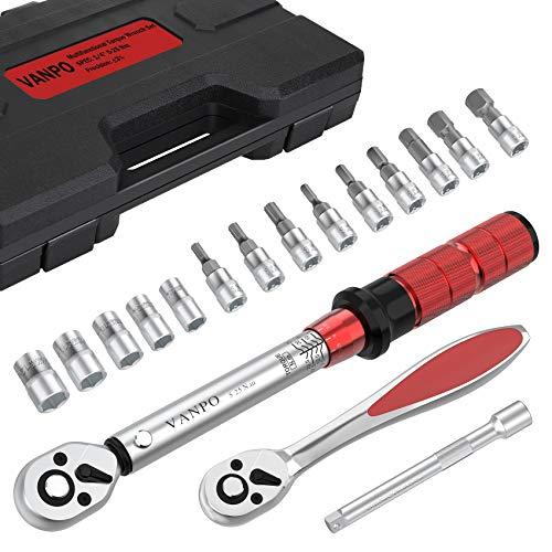 VANPO Drehmomentschlüssel 1/4 Zoll, Drehmomentschlüssel Fahrrad & Motorrad 17 tlg. Set, 5-25 Nm, ± 3% Fehlergenauigkeit mit Ratschenschlüssel 1/4 Zoll, Verlängerung, Innensechskant, Hex und Torx Bits