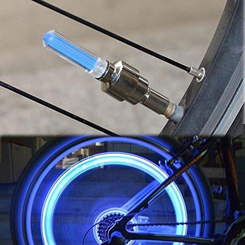 2x LED Ventil Kappen BLAU, Reifen Beleuchtung, Speichen Licht, für Fahrrad Felgen Auto Bike (blue / blau) Valve Caps - 3