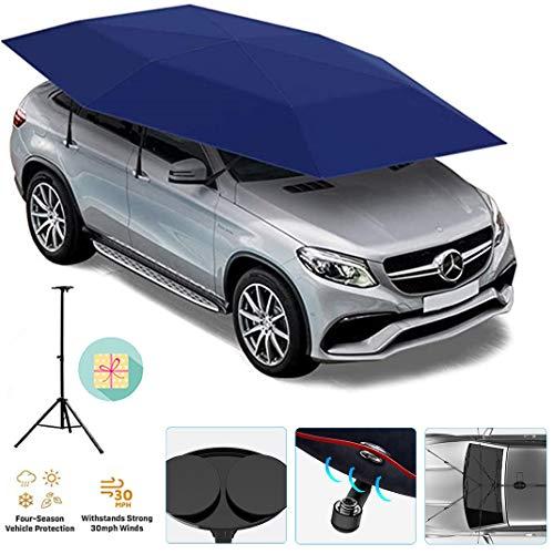 GJZhuan Carpa Coche del Automóvil de la Cubierta de Paraguas, de Sunproof Parasol Canopy, Anti-UV, a Prueba de Agua, a Prueba de Viento (4600 * 2300 Mm/181.1 * 90,55 Pulgadas),Blue- semiautomatic