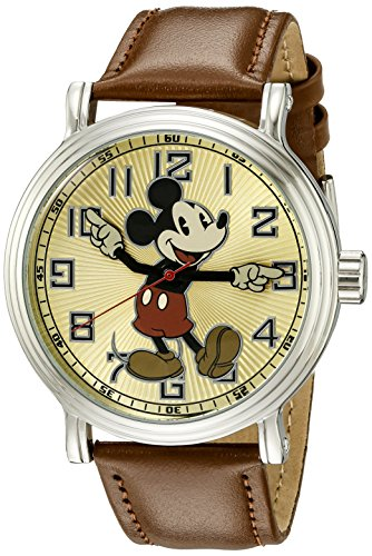 of disney watch bands dec 2021 theres one clear winner Disney Men's W002419 Mickey Mouse Analog Display Analog Quartz Brown Watch