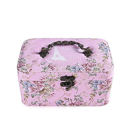 SUZONC Double Style European Style Jewellery Box Korean Retro Earrings Necklace Ring Simple and Creative Vintage Rose Flower Jewellery Storage Box 19.5 x 12.5 x 9.5 cm