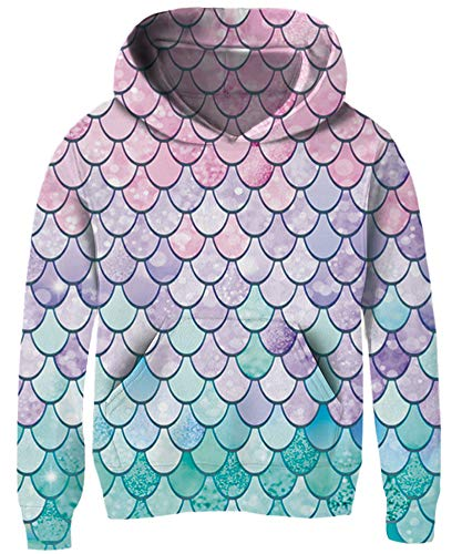 size 9 Comy Cartoon Lightweight Hooded Sweatshirts Lovely Outdoor Mermaid Fish Scale Hoody Pull-Ups for Girl Kid Child Teen Schooler Youth, Purple Blue Pink Lavender Lilac Aqua Light Bluish-Green