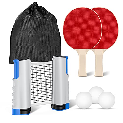 Raquette de Ping Pong Professionnel Set Portable avec Filet Rétractable Jeu Intérieur Extérieur Ping Pong Set (2 Raquette de Tennis de Table + 3 Balles + 1 Filet) (Gris)