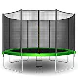 CalmMax Trampolines 12FT Jump Recreational Trampolines with Safety Enclosure Net - Combo Bounce Outdoor Trampoline for Kids Family Happy Time (Green)