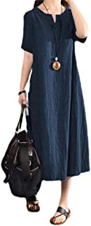 neveraway Womens Summer Baggy Oversized Linen Solid Colored Maxi Long Dress