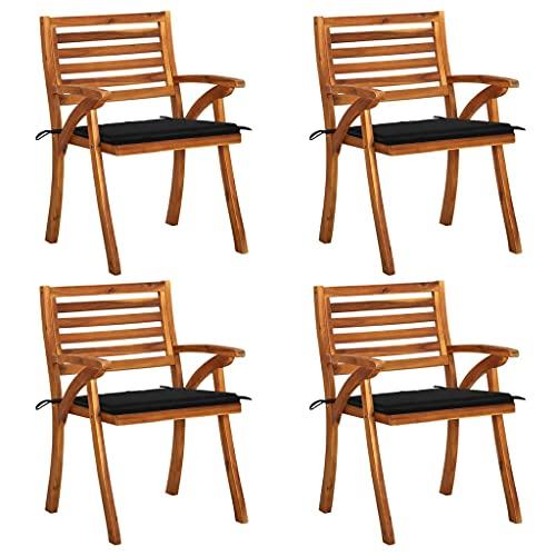 vidaXL 4X Madera Maciza de Acacia Sillas de Jardín con Cojines Sillón Exterior Terraza Balcón Patio Asiento Butaca Muebles Mobiliario Duradera
