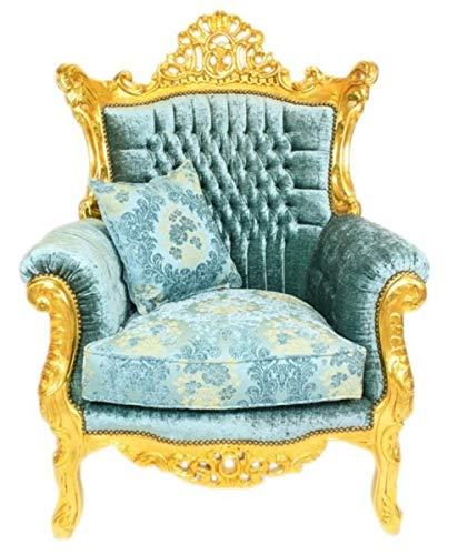 Casa Padrino sillón Barroco Turquesa/Oro - Sillón de saló