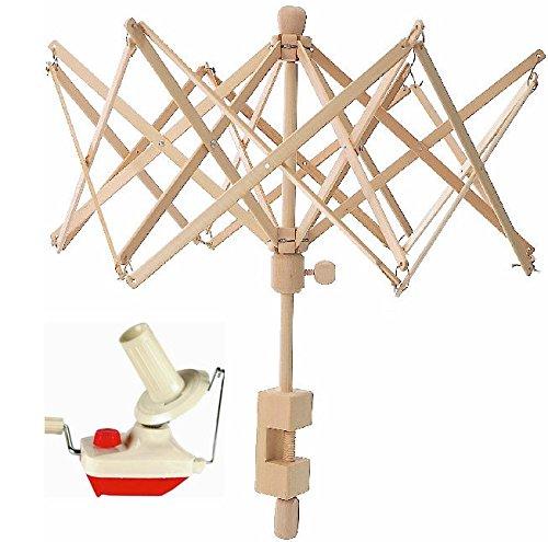 Combo Package Yarn Swift Birch Wooden Umbrella (Medium) Winder Yarn Ball Winder 6 Feet Combo Pack Knitting Spinning