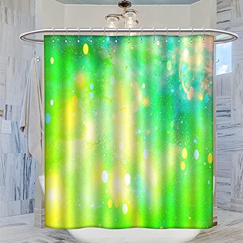 168 x 183 cm Duschvorhang mit grün-gelbem Ombre-Muster, wasserdichter Badvorhang mit 12 Kunststoffhaken, waschbarer Badvorhang