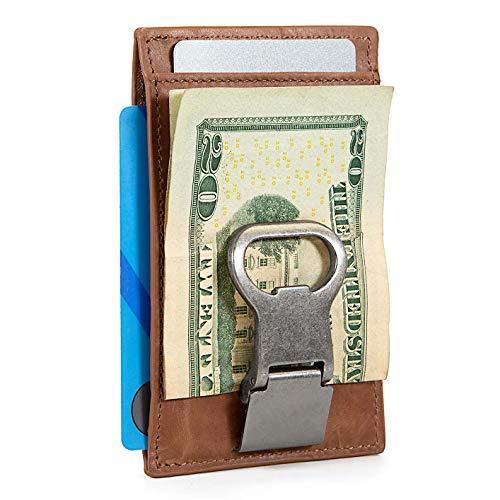 Slim RFID Leather Money Clip Wallet with Bottle Opener for Men