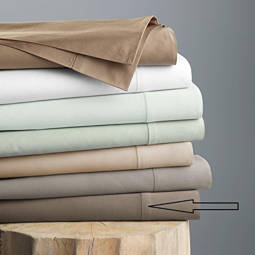 Hudson Park 600 TC Sateen Solid Egyptian Cotton FULL Flat Sheet Mink Brown