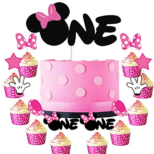Minnie One Cake Topper Minnie Inspired 1st Birthday Cupcake Toppers Mouse Onederful First Birthday Girl's Baby Shower Anniversary Party Cake Supplies Decorations