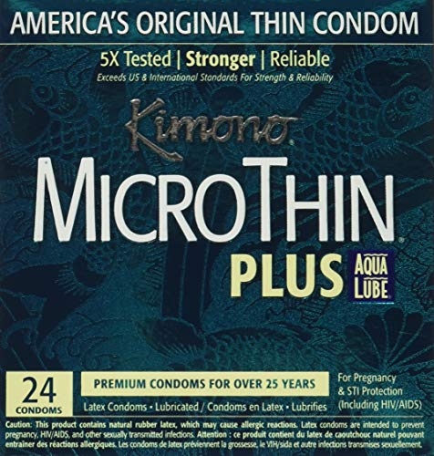 Kimono Latex Micro Thin Condoms, Ultra Lubricated, 24 Count (pack of 2), 48 Count