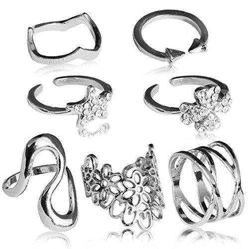 tumundo® Fingerring Ring Fingerspitzenring Knuckle Nagelring Obergelenkring Finger Ringe Damen-Schmuck, Farbe:Modell 1 - silbern