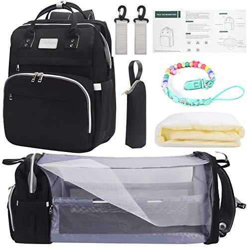 Backpack Diaper Bags for Boys with Portable Crib, 3 in 1 Baby Bassinet Diaper Backpack Organizer with Changing Station,Waterproof Mummy Camping Backpack with Baby Bassinet Black