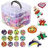 Herefun 9000 Perline a Fusione, 36 Colore Perline da Stirare Kit per Il Tempo Libero Creativo, 6 Pegboard+3 Pinzette+2 Carta da Stiro Kit per Gioielli Fai da Te per Bambini