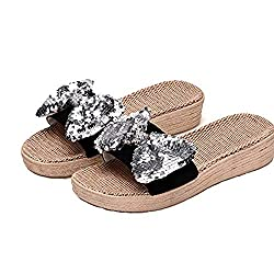 Thick Silver Flax Bowknot Slip On Sandals