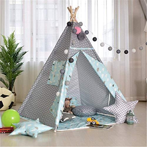Schattig Zhoumei Daily Life Play Tent Indian Playhouse Tipi Tent Foldable Cotton Canvas Teepee Tent Fotografie Teepee Play Tent for meisjes of jongens, roze, grijs (Kleur: C2, Maat: Zoals te zien)