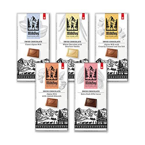 Milkboy Swiss Chocolates Variety Pack of Milk, Dark, & White Chocolate Bars (5 Pack)