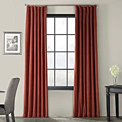 Amazon Half Price Drapes VPCH-180105-96 Signature Blackout Velvet Curtain (1 Panel), 50 X 96, Crimson Rust Color
