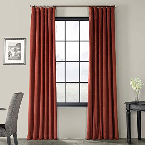 HPD Half Price Drapes VPCH-180105-96 Signature Blackout Velvet Curtain (1 Panel), 50 X 96, Crimson Rust